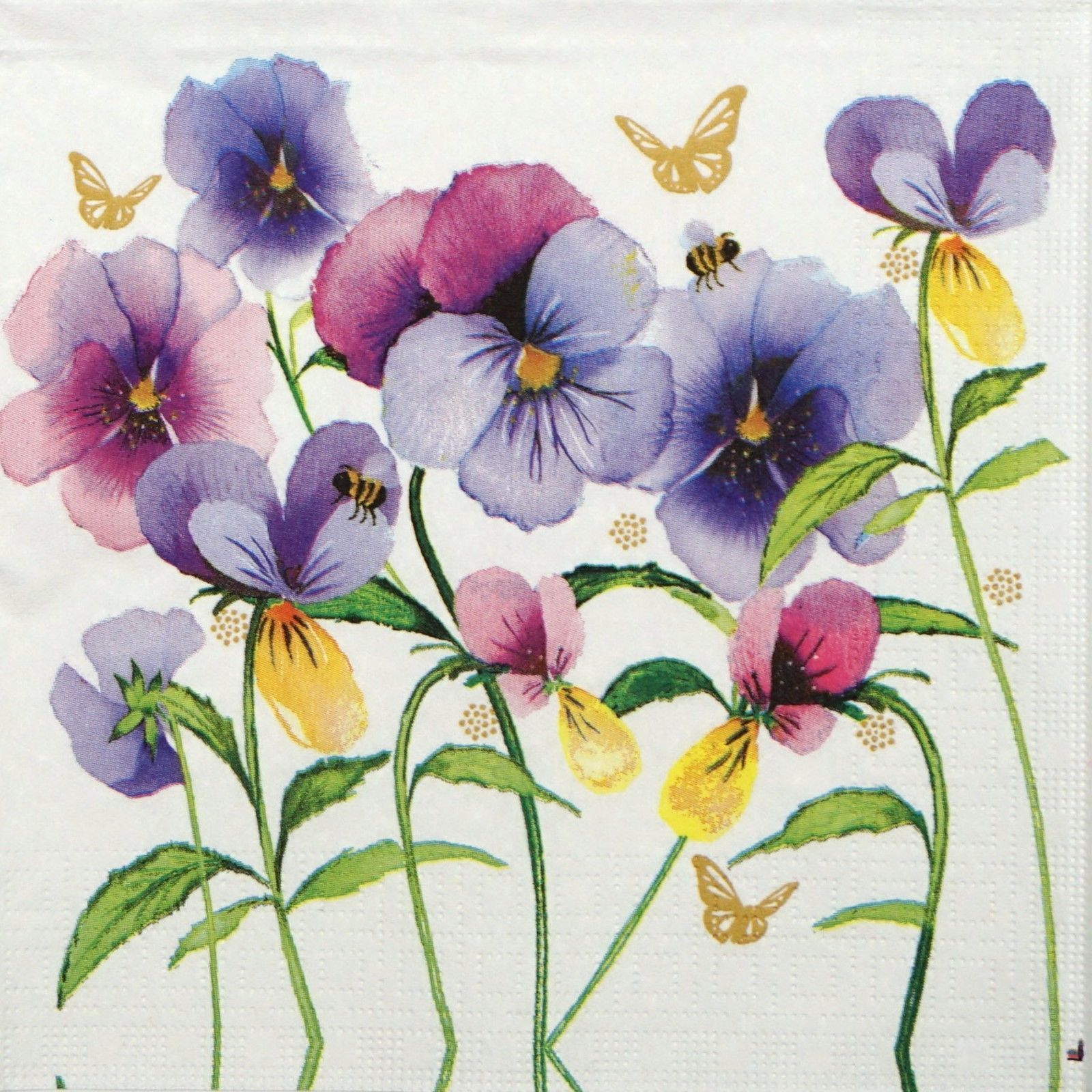 4x Paper Napkins for Decoupage Decopatch Craft Painted Pansy in Green