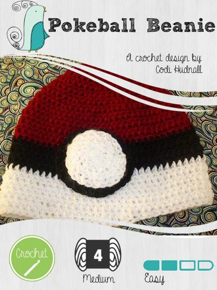 Crochet Pokéball Pokemon Beanie Hat | Craftsy | hobbies | Pinterest