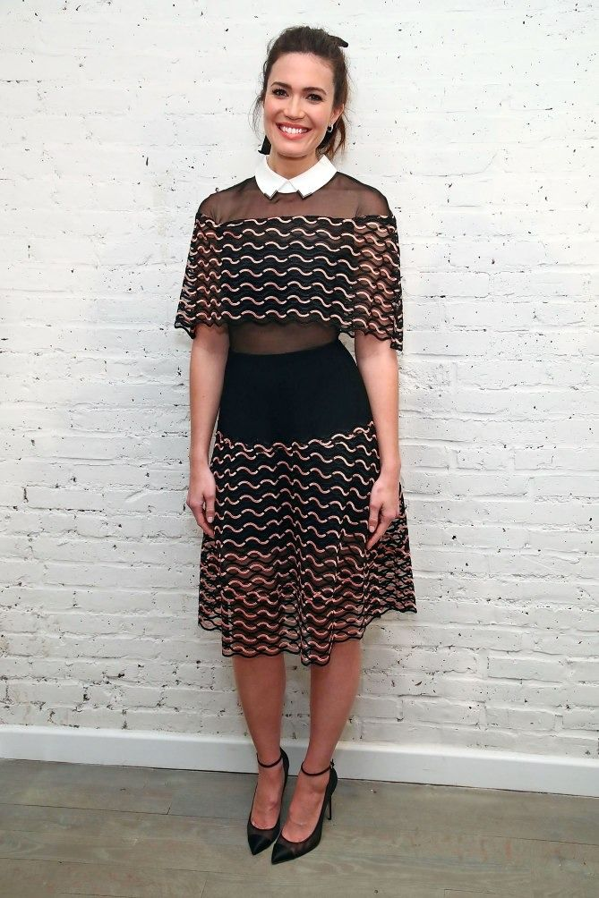 Mandy Moore New York Fashion Week Style - Lela Rose cape dress