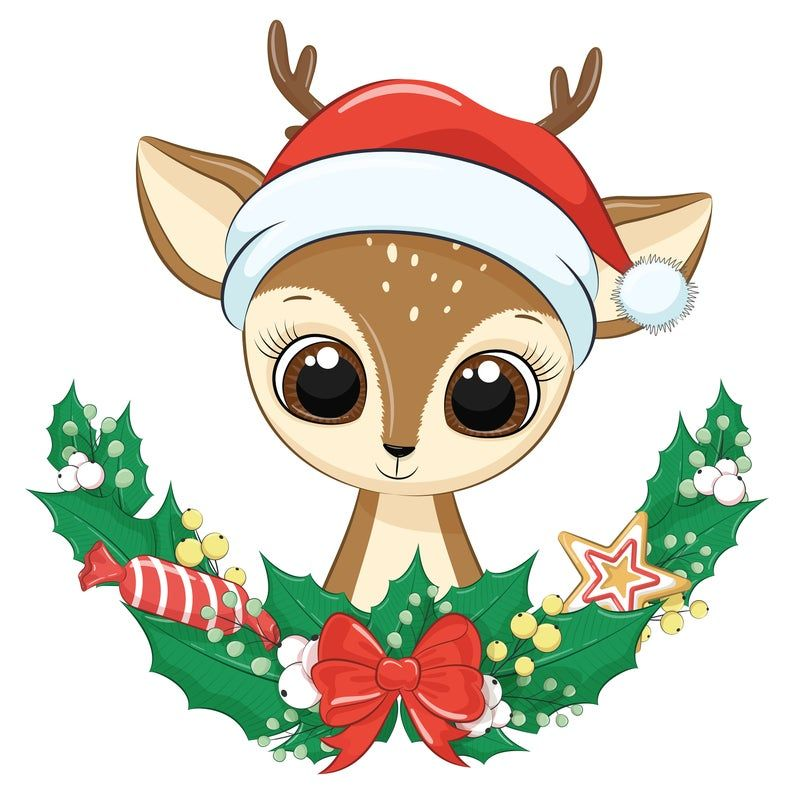 Christmas Wreath With Baby Animal Clipart Png Eps Jpeg Etsy Christmas Cartoons Christmas Animals Cute Christmas Wallpaper