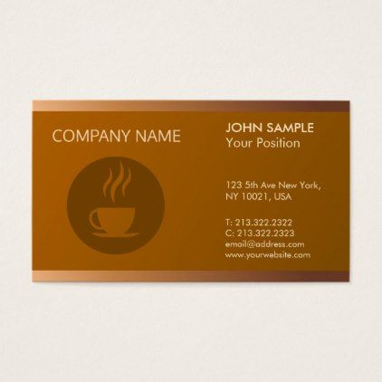 Cafeteria Modern Professional Elegant Coffee Shop Business Card - artists unique special customize presents