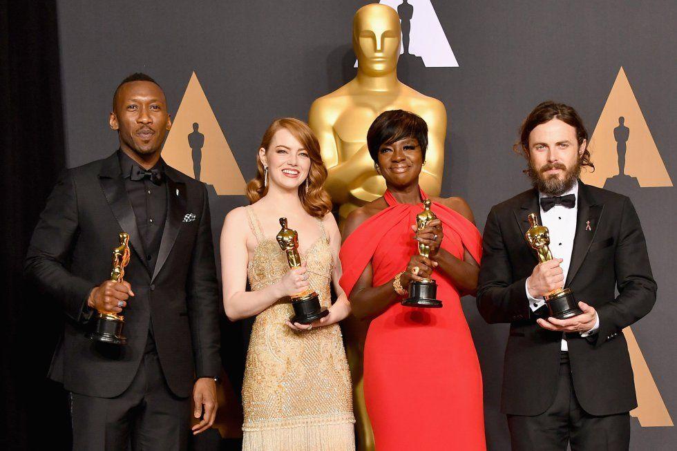 217 Oscars- Emma Stone ('La La Land'), Viola Davis ('Fences') and Casey Affleck ('Manchester in front of the sea'), Mahersala Ali ('Moonlight'