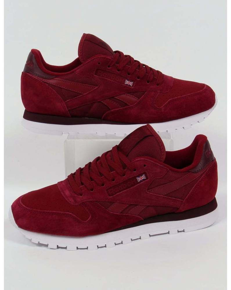 f2d16853264e4 reebok classic leather np trainers in burgundy - retro  80s suede (uk  sizes) from  73.33