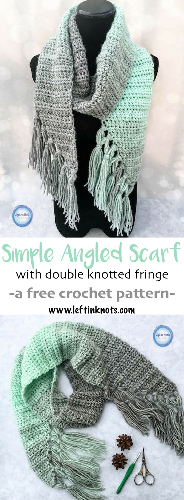 Mint-cicle Scarf Crochet Pattern | Guantes, Guantes tejidos y Gorros
