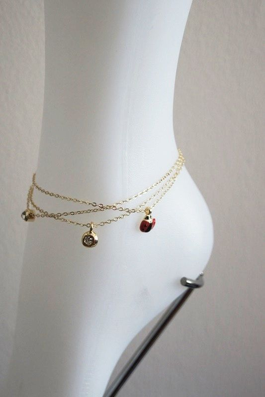 gold brass anklet dainty on by ball hoyahoya charm sterling original zibbet