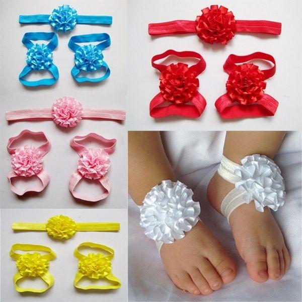 Set Baby Sock Headband+Flower Barefoot Sandals Hairband Toe Blooms Girl