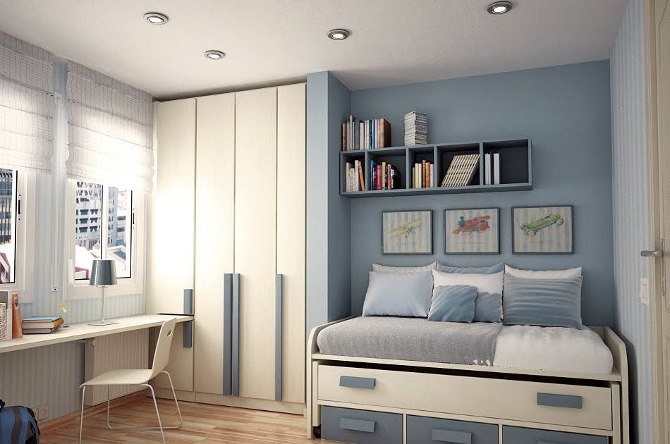 Double teen room with wardrobe beds pillows