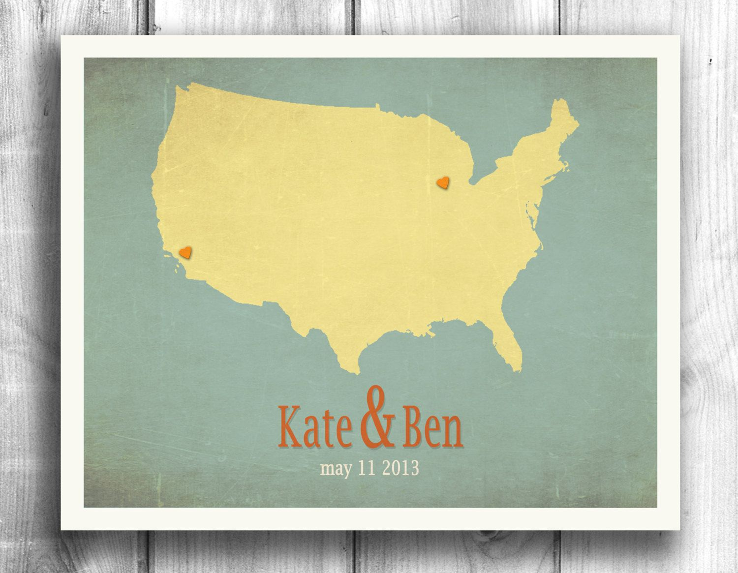 Wedding Sign Personalized Poster Engagement Gift Map