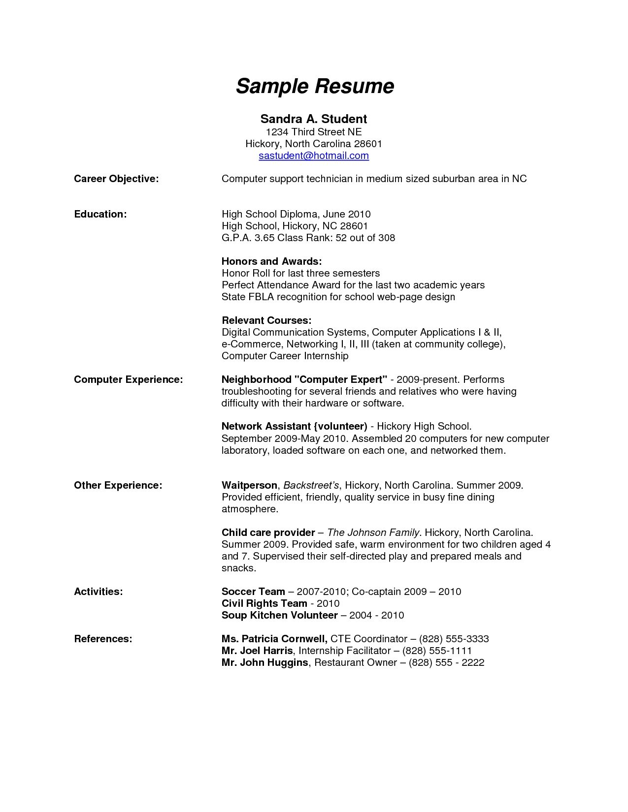 High School With Interesting Sample Resume Graduate Letter For