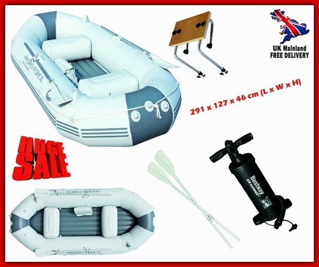 Inflatable Fishing Boat Rib Dinghy 3 Person Large Raft Lake Sea Pump Oar Bracket Fishing Boats Mma Training Fish Camp