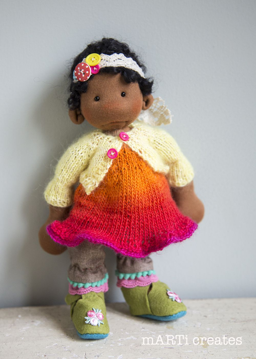 Faith - art cloth doll by 'mARTi creates' - 26cm /10""