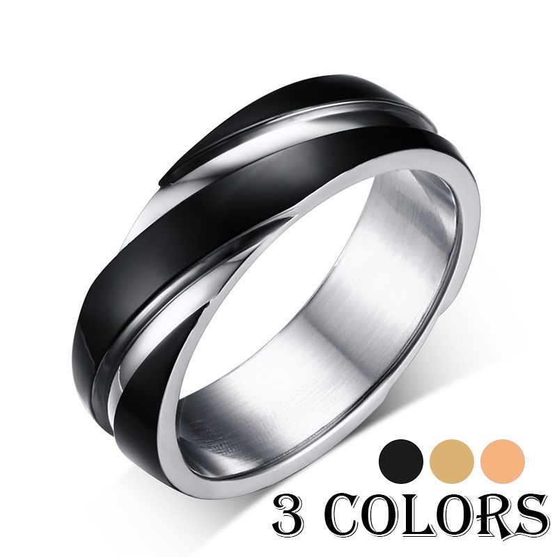 Hot Sale 3 color BlackGoldRose Gold 6mm Wedding Ring For Men and
