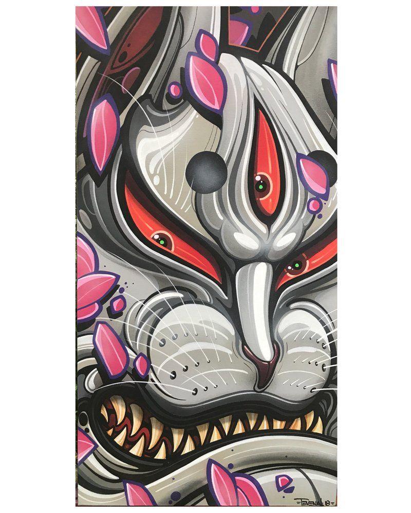 Image of kitsune mask japan art graffiti wallpaper