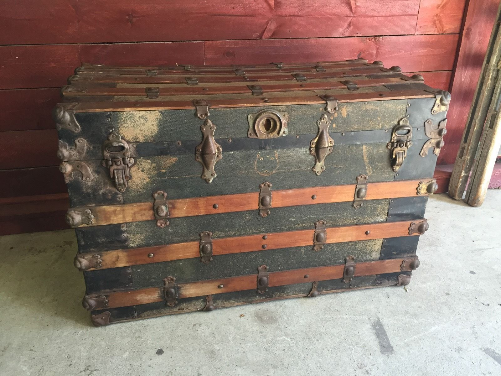 rare 1890s antique corner hinge steamer wall trunk by john b duguid rh pinterest com