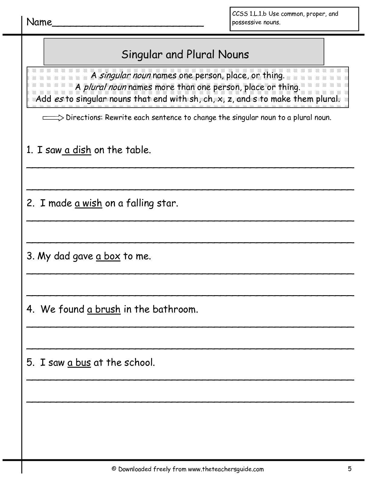 Wonders First Grade Unit Two Week Two Plural Nouns Worksheet Tutor