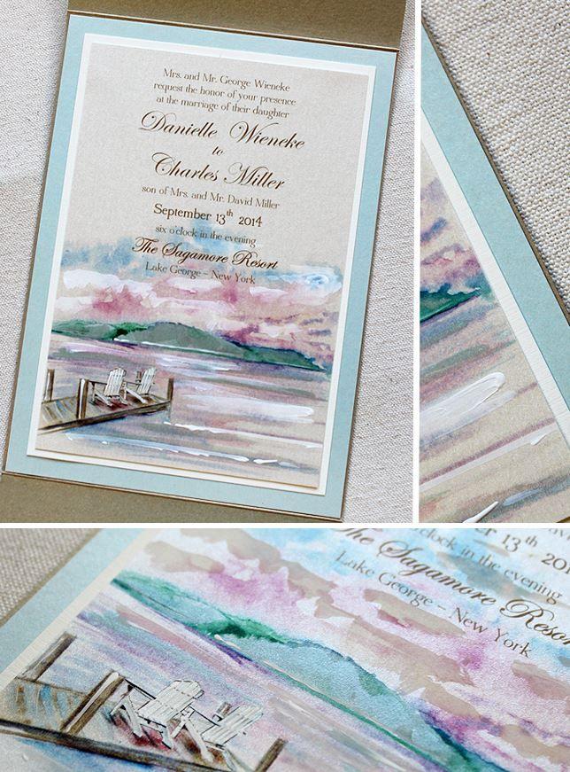 Danielle W Watercolor Lake George Wedding Invitations
