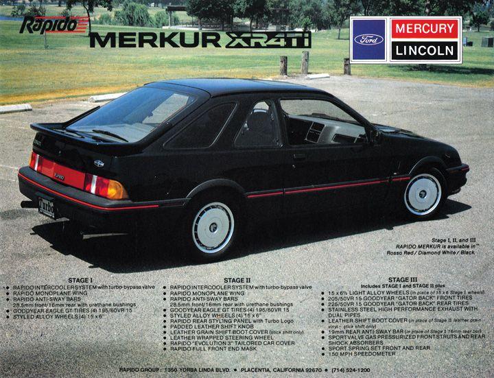 80s Flashback 1987 Mercury Merkur Rapido Xr4ti Ford Motor Company Car Brochure Ford Motor