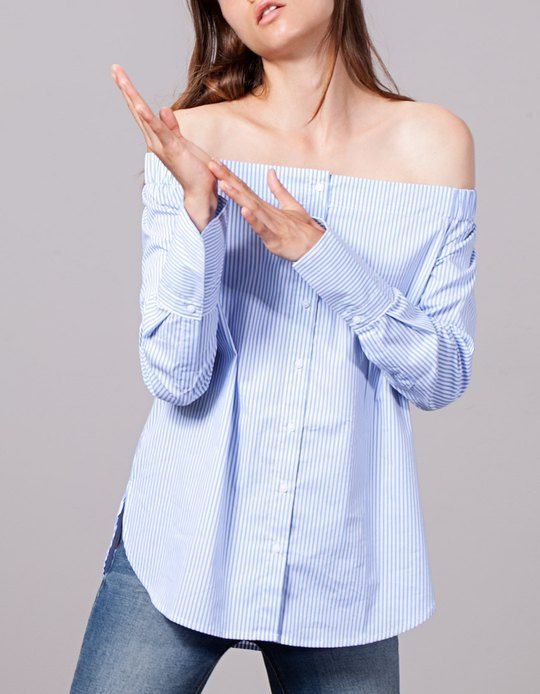 25a6f0ff789613 At Stradivarius you'll find 1 Striped off-the-shoulder shirt for woman for  just 2590 Serbia . Visit now to discover this and more SHIRTS.