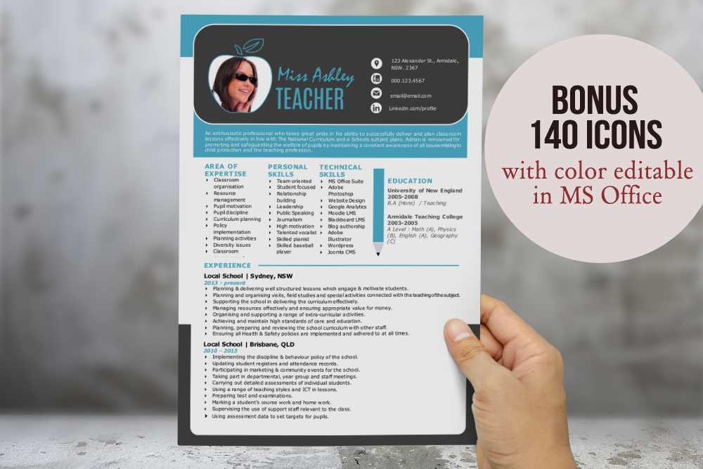 Modern teacher resume for MS Word by