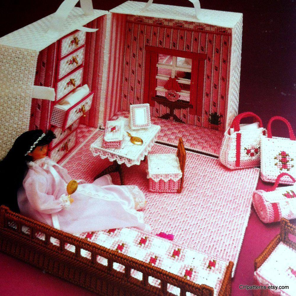 Fashion Doll Travel Trunk Plastic Canvas Barbie Dollhouse Furniture Patterns By Annie 39 S Attic