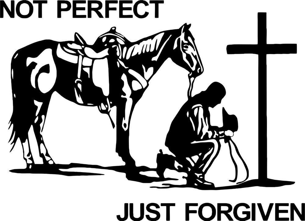 Christian Cowboy Praying Horse Cross Car Truck Window Laptop Vinyl - Truck horse decals