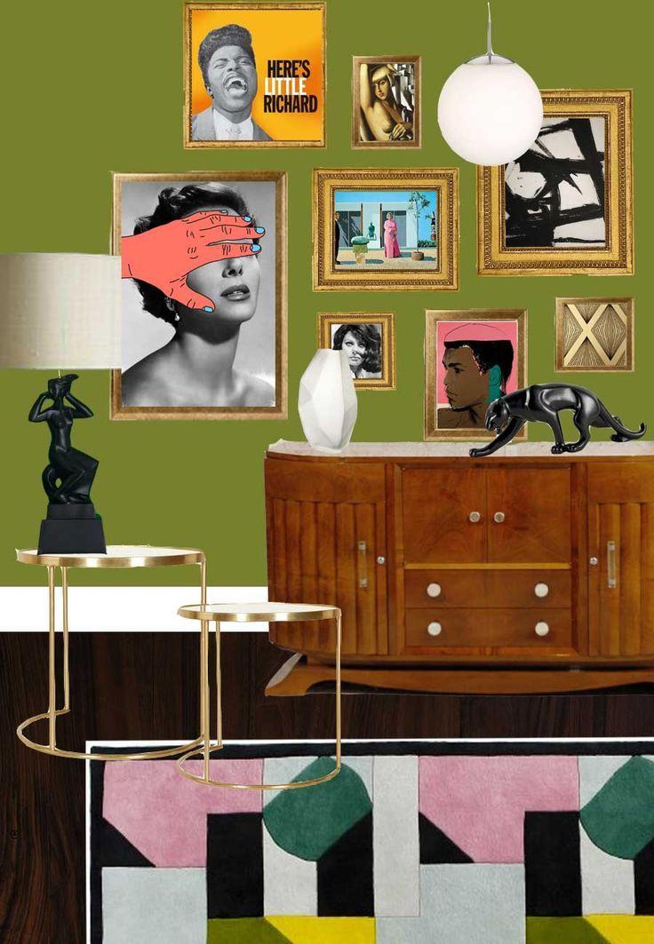 An olive green Art Deco meets pop