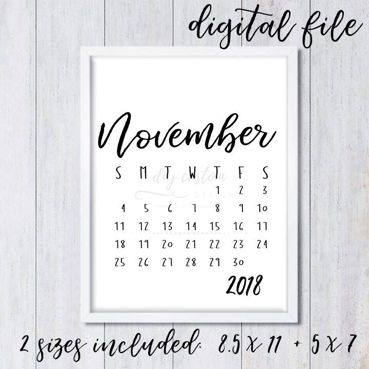 november 2018 baby announcement calendar birth announcement digital download printable baby due date social media save the date