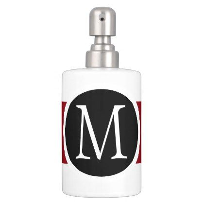 stylishly elegant black white u0026 red line monogram soap dispenser and toothbrush holder stylish gifts