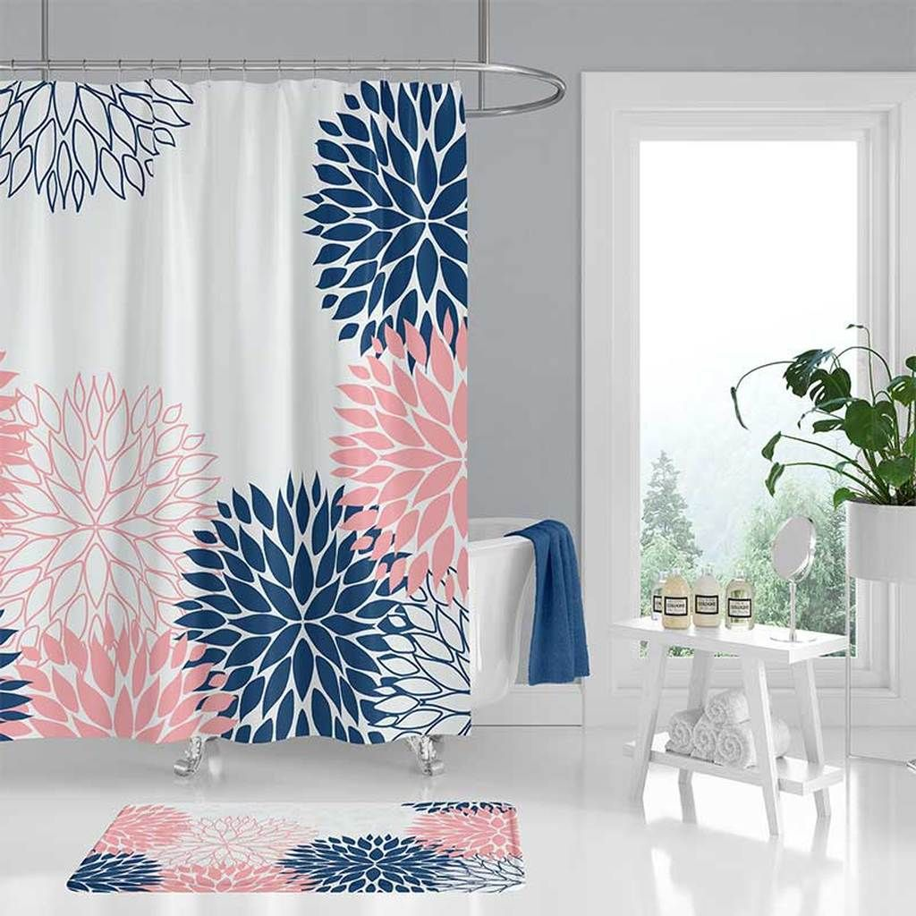 Navy Blue And Pink Shower Curtain And Bath Mat With Floral Design