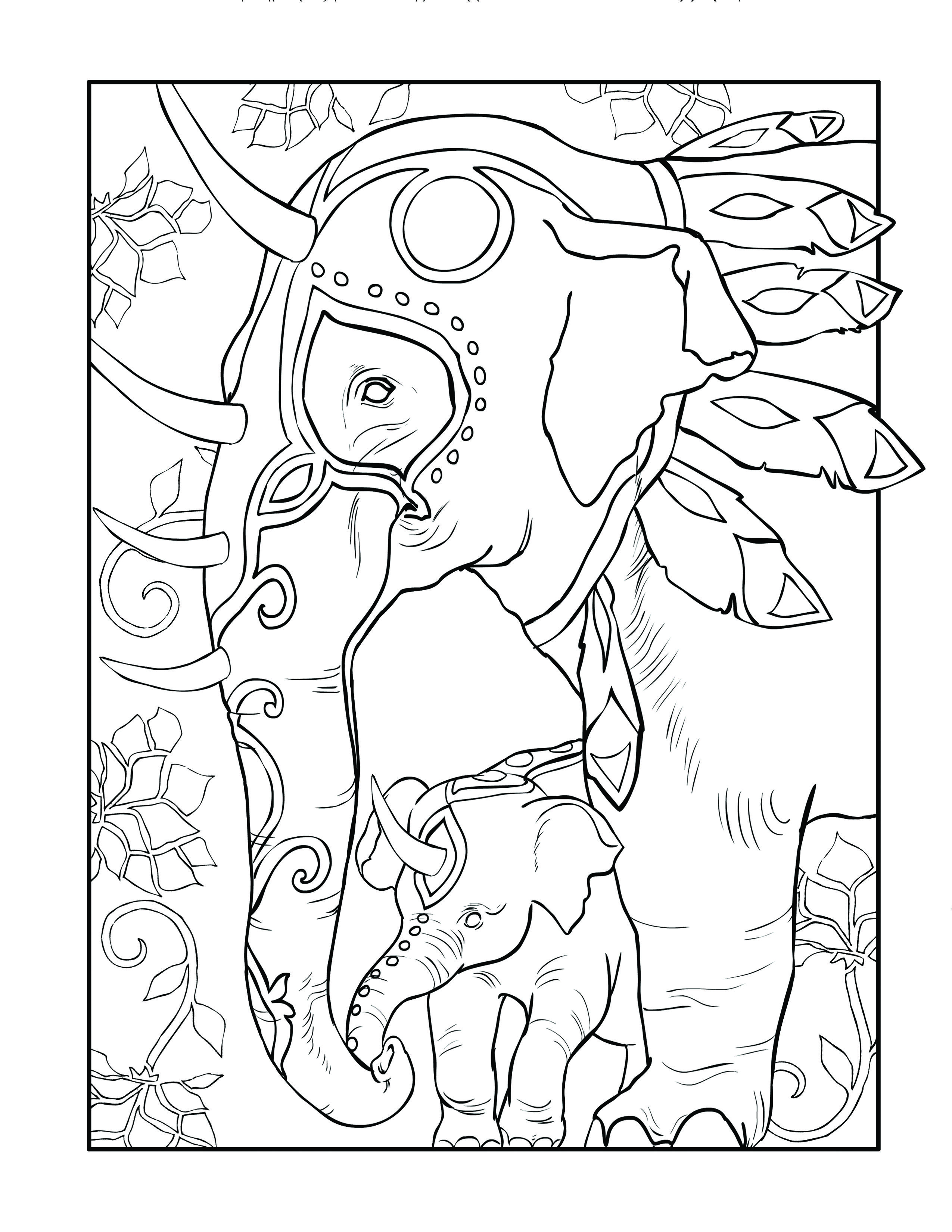 Mythical elephant color page. This adult coloring page is from ...