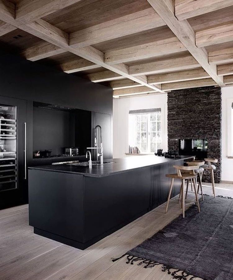 inspired spaces kitchen exposed beams black kitchen counter rh pinterest com