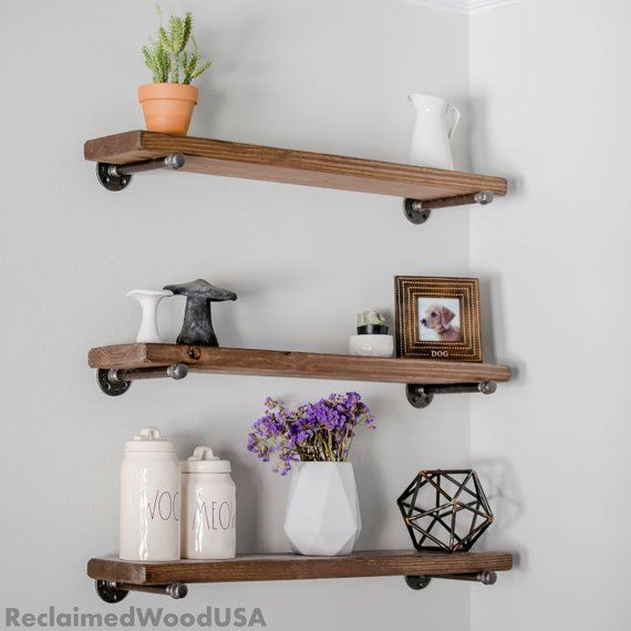 easy mount wood floating shelves reclaimed wood shelf industrial rh pinterest com