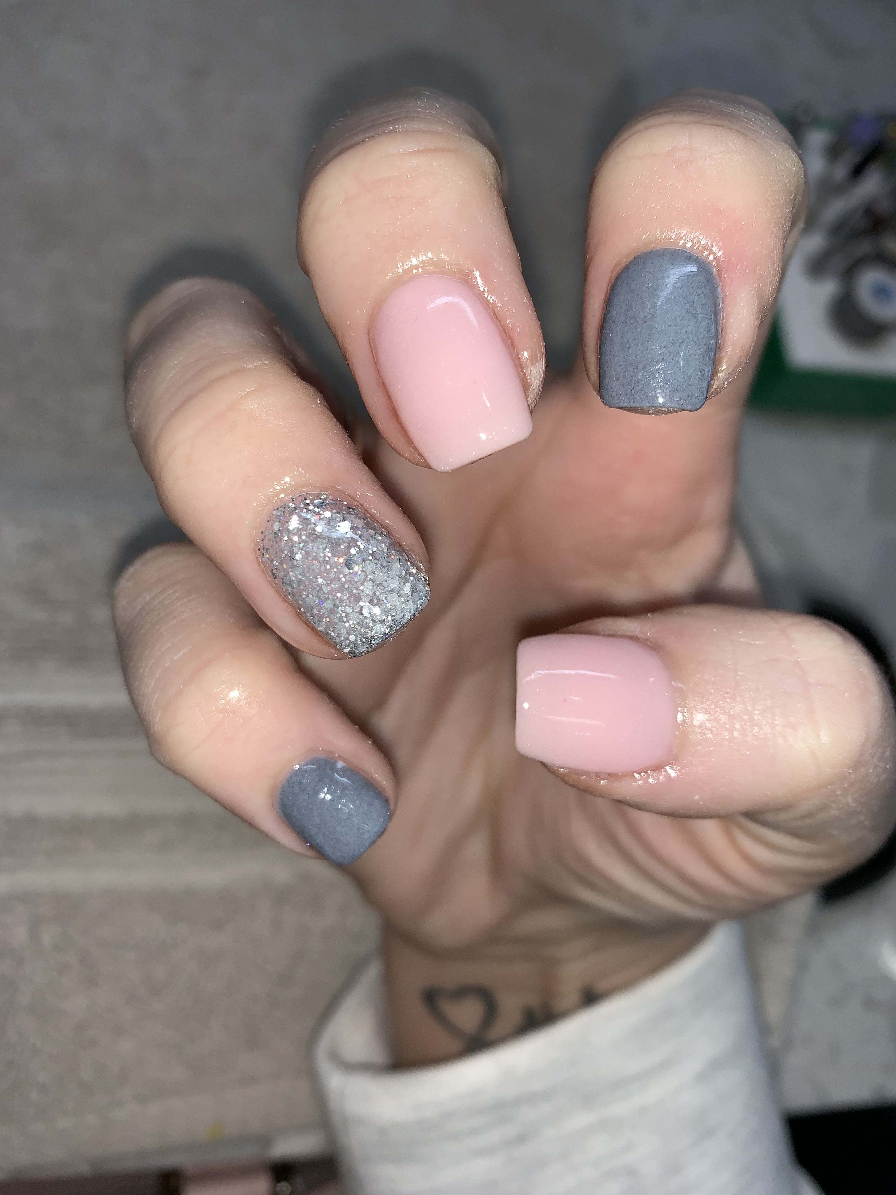 Glitter Short Grey Coffin Nails Nail And Manicure Trends