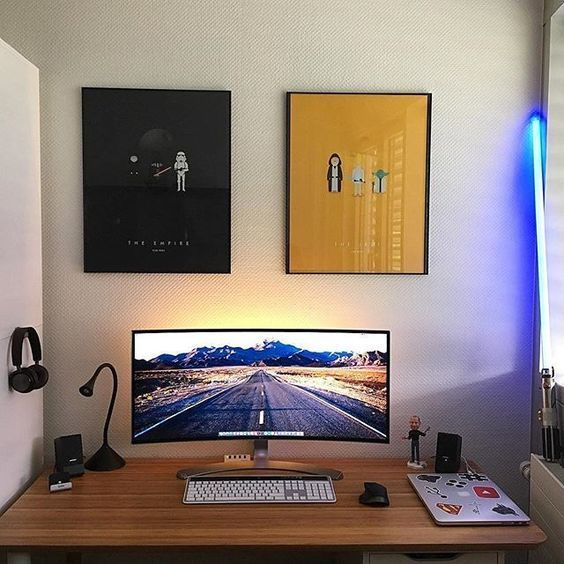 gaming desks office setup computer desk setup home office setup rh pinterest com