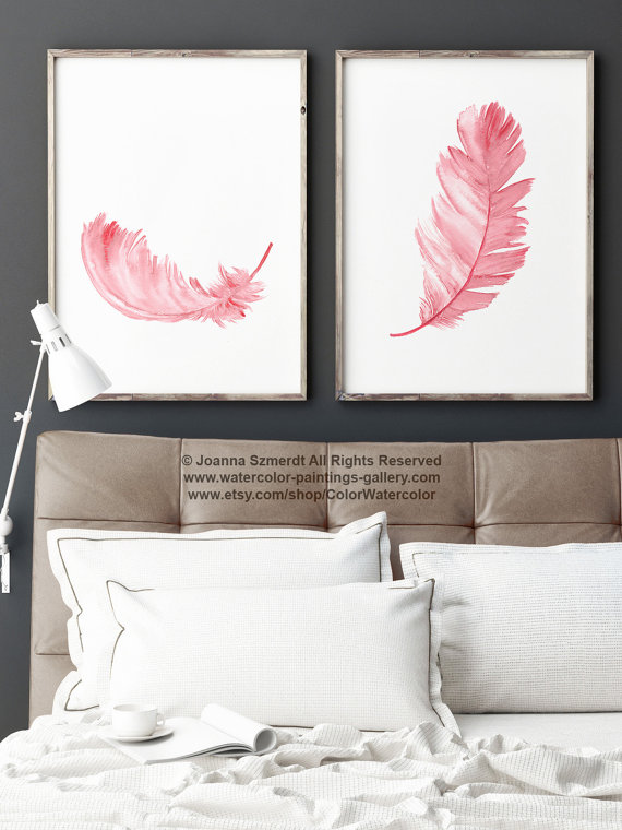 Two Feathers Painting Set 2 Nursery Baby Girl Wall Decor, Pink Kids - peinture chambre bebe fille