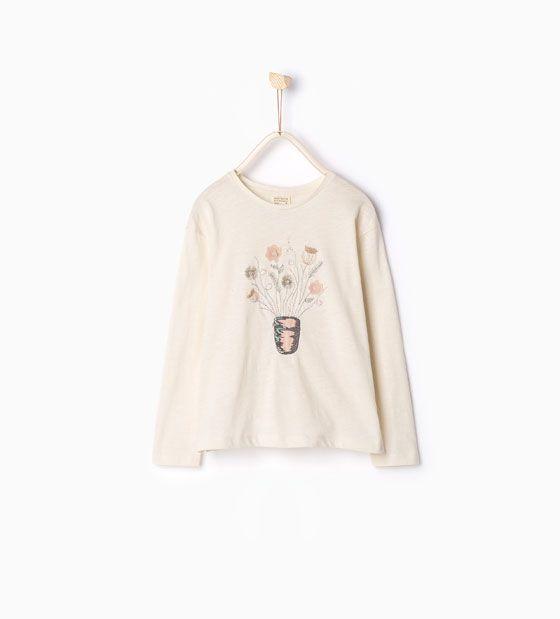 ZARA - ENFANTS - T-shirt fleurs appliquées