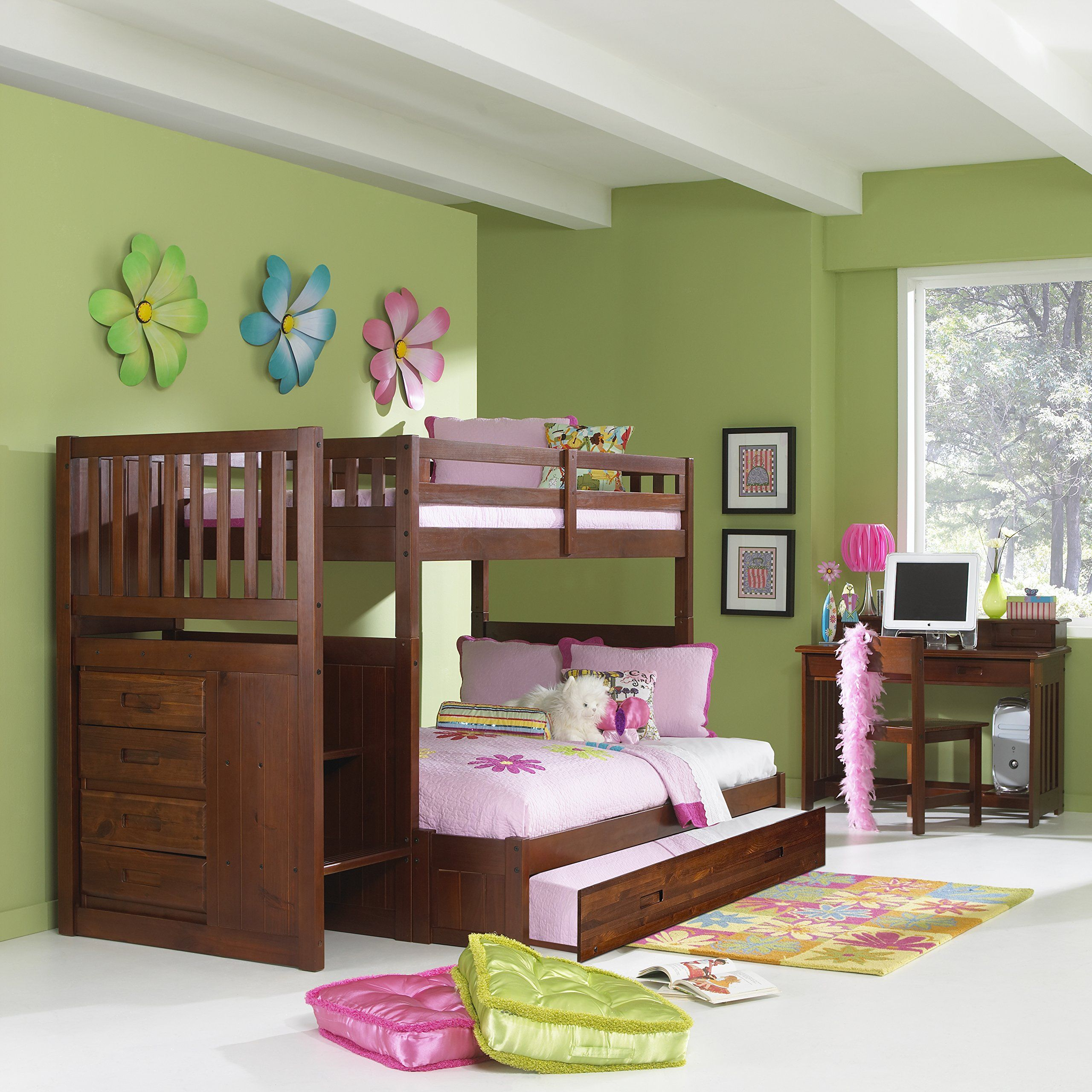 Mission Twin Over Full Staircase Bunk Bed With Trundle In Merlot Finish