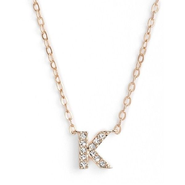 Women's Nadri Initial Pendant Necklace (€43) ❤ liked on Polyvore featuring jewelry, necklaces, k rose gold, initial necklace, anchor necklace, drusy pendant, initial jewelry and letter pendant necklace