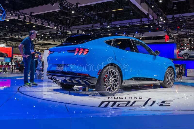Ford Mustang Mach E Suv On Display During Los Angeles Auto Show