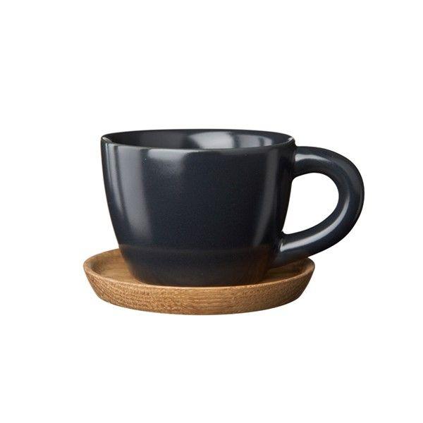 Höganäs Keramik - Espressokopp med träfat 10 cl - Grafitgrå matt
