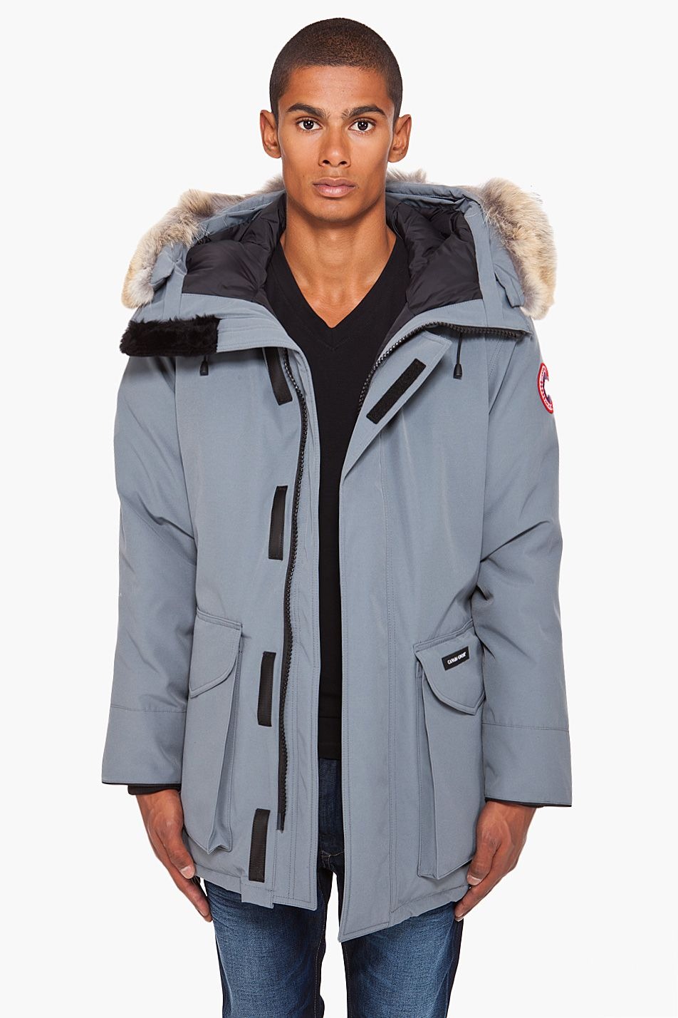 CANADA GOOSE - Grey Coyote Fur Hood Ontario Parka Long sleeve down parka in grey. Black cinch belt and removable coyote fur ruff at drawcord hood.