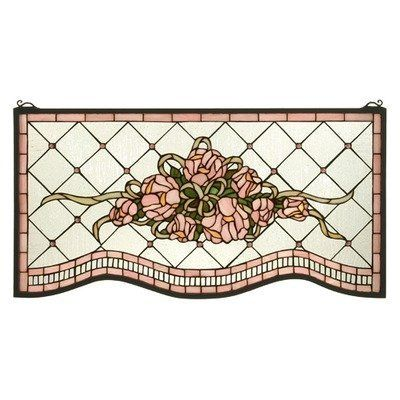 Meyda Tiffany 32594 Cabbage Rose Stained Glass Window by Meyda Tiffany. $419.40. Double bowed bottom edge. Wrapped with a flowing beige ribbon are the centerpiece. Includes hooks, hanging chains, mounting brackets and screws. Bouquet of petal pink roses. 421 pieces of pink and leafy green on a background of diamond-shaped seeded textured iridescent. 32594 Features: -Glass window.-Victorian inspired window is an original tiffany design with a double bowed bottom edge.-Bouqu...