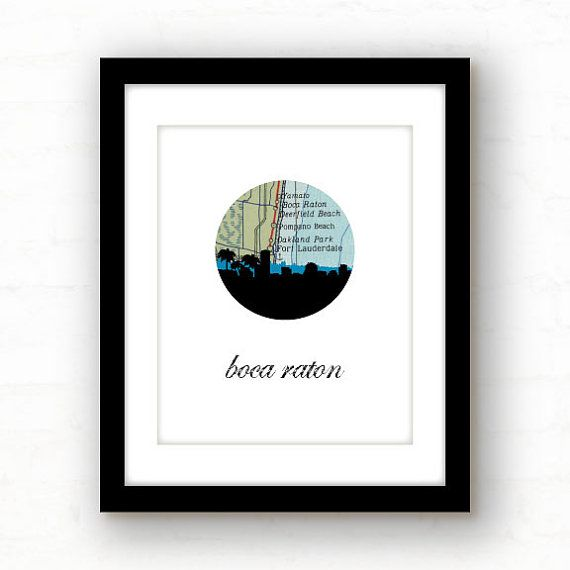 Boca Raton Florida Map.Boca Raton Florida South Florida Map By Paperfinchdesign