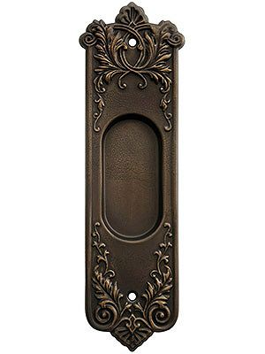 Lorraine Pattern Pocket Door Pull Without Keyhole In Oil Rubbed