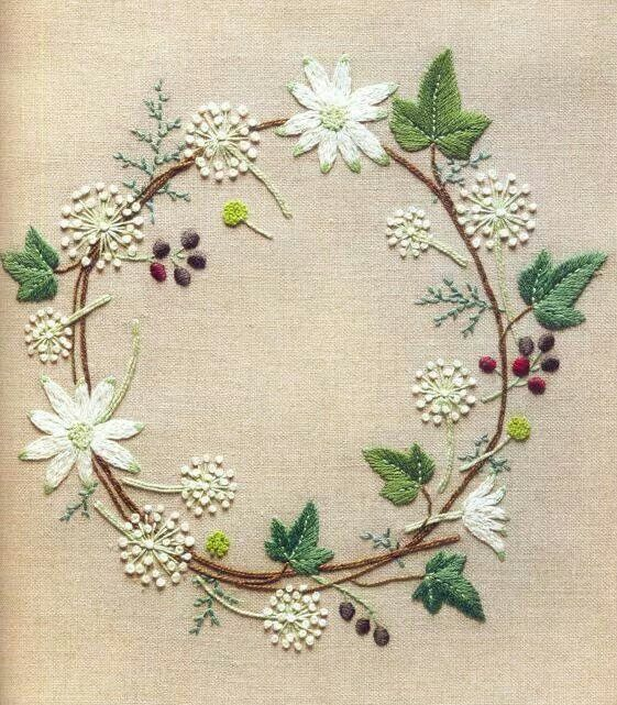Flower Wreath Embroidery Pinterest Embroidery Hand