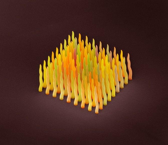 Electron microscope image of platinum nanorods on silicon - FEI