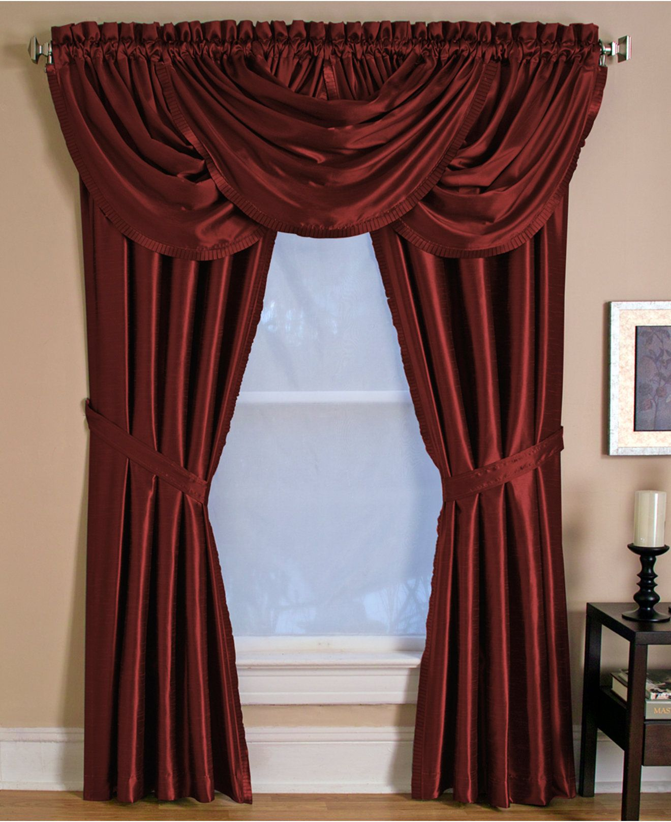 scalloped product piper check curtain category classics tiers star department tier black curtains