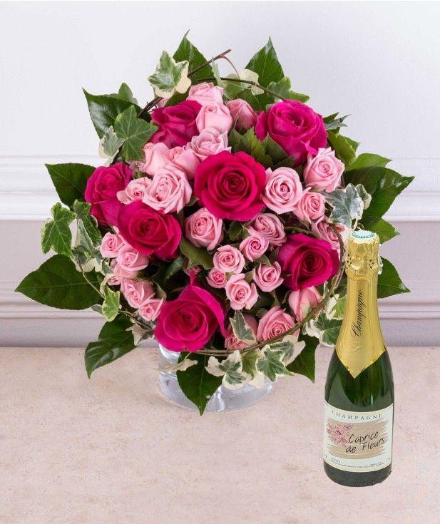 Cadeau Anniversaire Bouquet De Fleurs Et Champagne Livraison De