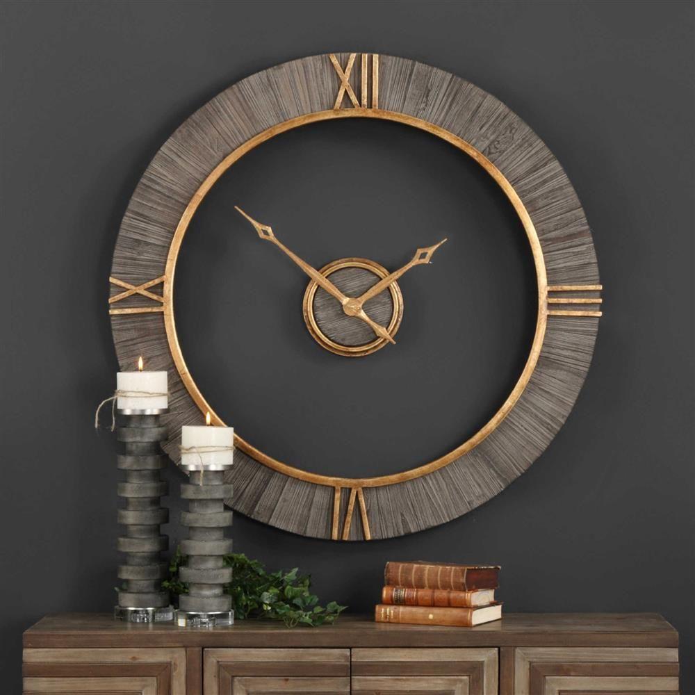 Nathan Modern Classic Antique Gold Fir Wood Wall Clock Wall Clock Modern Big Wall Clocks Wall Clock Design