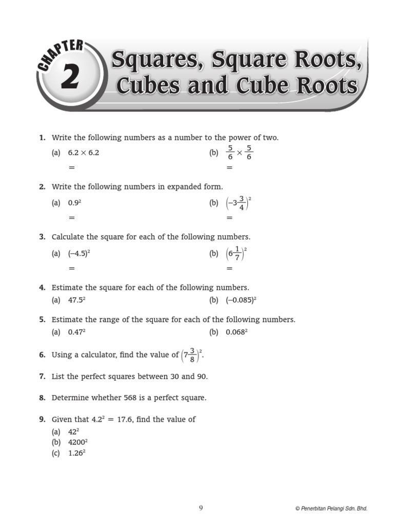 Squares And Square Roots Worksheet Chap 2 T Er Squares Square Roots Cubes And Cube Roots 1 Estimating Square Roots Square Roots Graphing Linear Inequalities